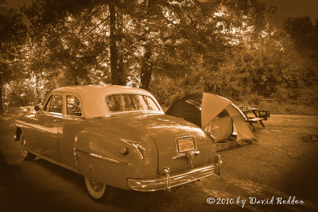 Classic car father & son camping weekend